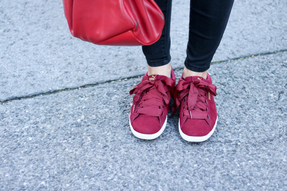 Ootd in tawny port sneakers mit gro en maschen von puma - Wie baue ich einen begehbaren kleiderschrank ...